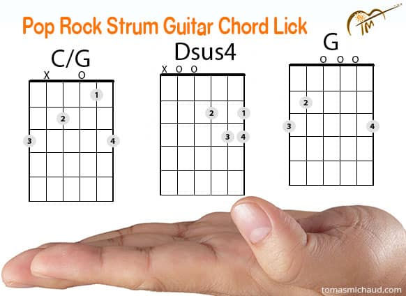 "Cool Pop Rock ""Eagles"" Acoustic Guitar Chord Lick Using G & C/G"